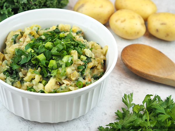 colcannon with potatoes and spoon, horizontal