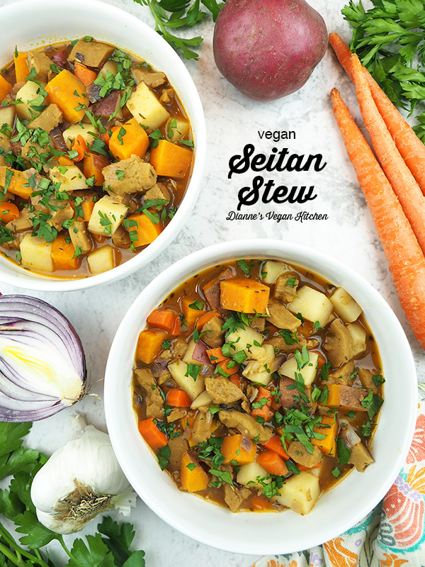 two bowls of stew with vegetables with text overlay