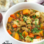 close up of bowl of stew with text overlay