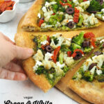 Vegan Green and White Pizza with text overlay