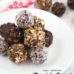 Vegan Chocolate Almond Date Truffles with text overlay