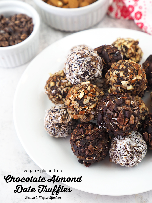 Vegan Chocolate Almond Date Truffles on plate with text overlay