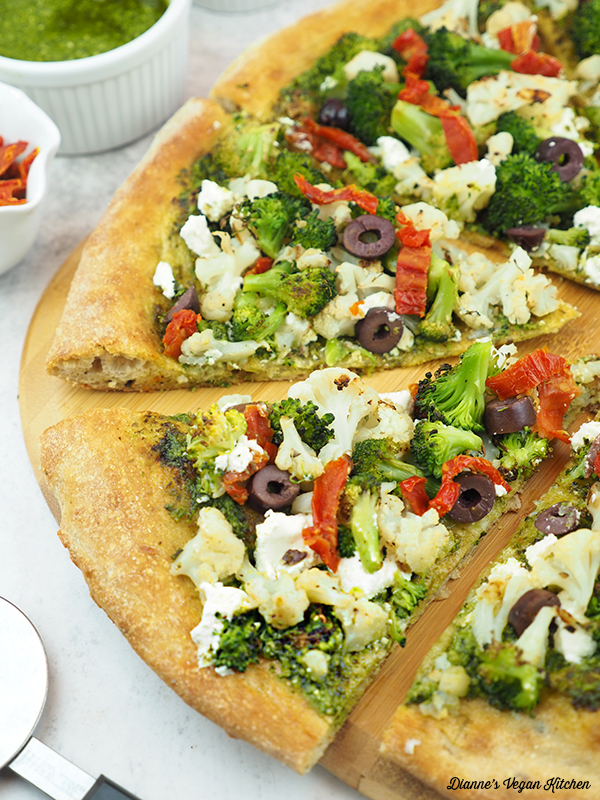 close up of Vegan Green and White Pizza