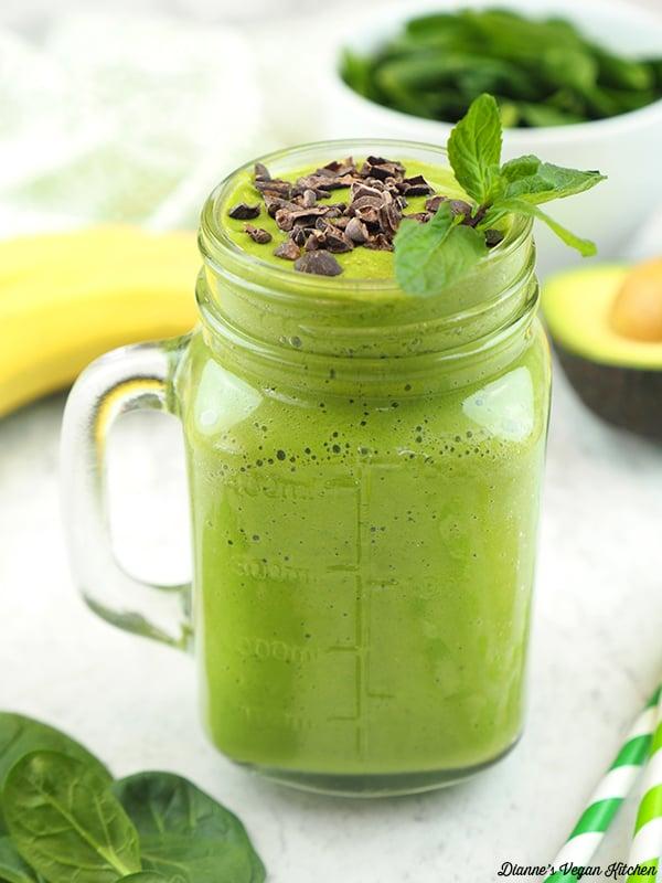 shamrock shake with spinach, avocado, and banana
