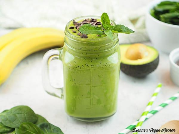 shamrock shake with bananas, avocado, and spinach, horizontal