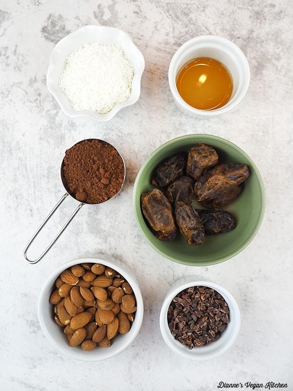 dates, cacao nibs, almonds, cacao powder, coconut
