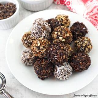 Vegan Chocolate Almond Date Truffles square