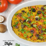 close up with frittata with tomatoes and mushrooms with text overlay