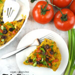 Tofu Frittata slice with tomatoes and with text overlay
