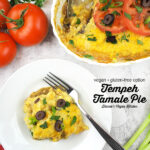 Vegan Tamale Pie on plate with text overlay
