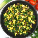 Spinach Mushroom Scrambled Tofu in pan with text overlay
