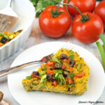 slice of tofu frittata with tomatoes