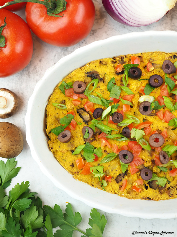 close up of Tofu Frittata with tomatoes, onion, mushrooms, and parsley