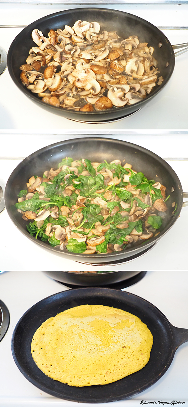 cooking mushrooms, spinach, and chickpea flour crepes