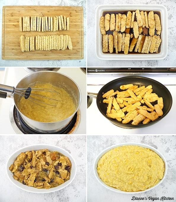 assembling casserole collage