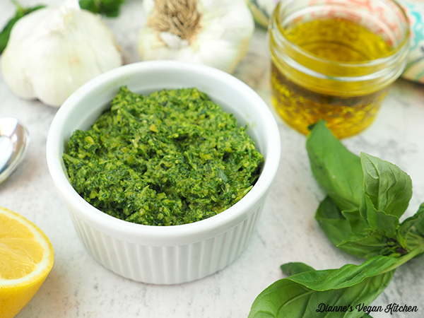 pesto with garlic, olive oil, and basil with horizontal