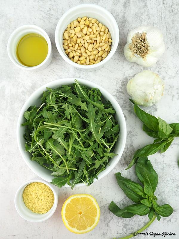 olive oil, pine nuts, garlic, basil, lemon, nooch
