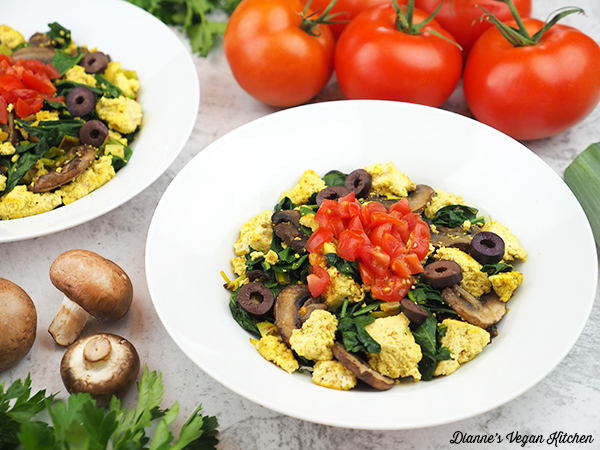 two bowls of tofu scramble horizontal