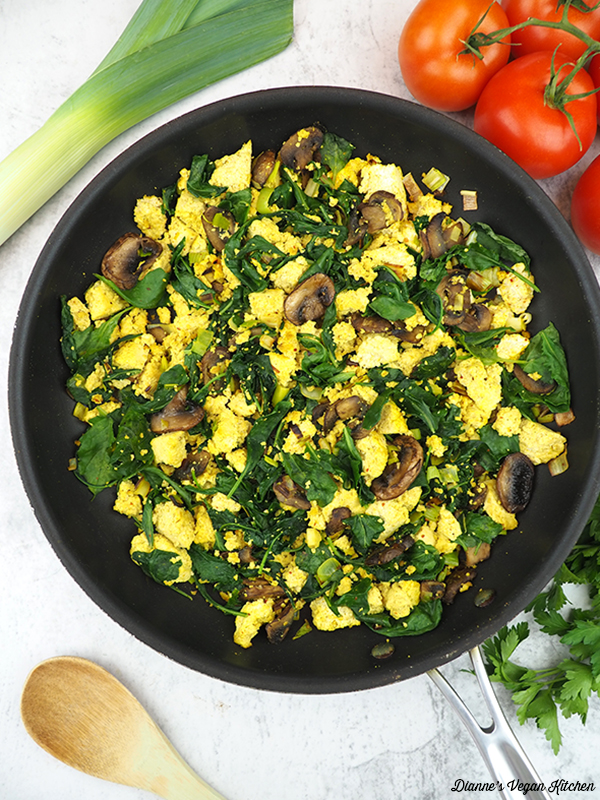 cooked tofu scramble in pan
