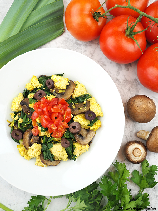 Spinach Mushroom Scrambled Tofu with leek, tomatoes, mushrooms
