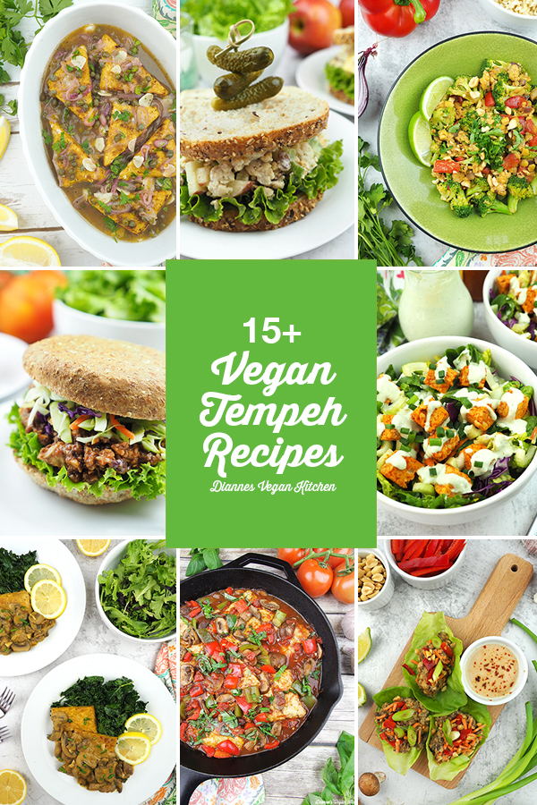 collage of tempeh recipes
