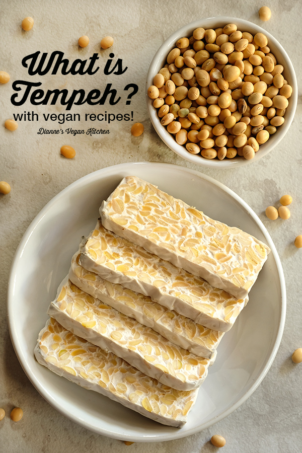 plate of tempeh with text overlay