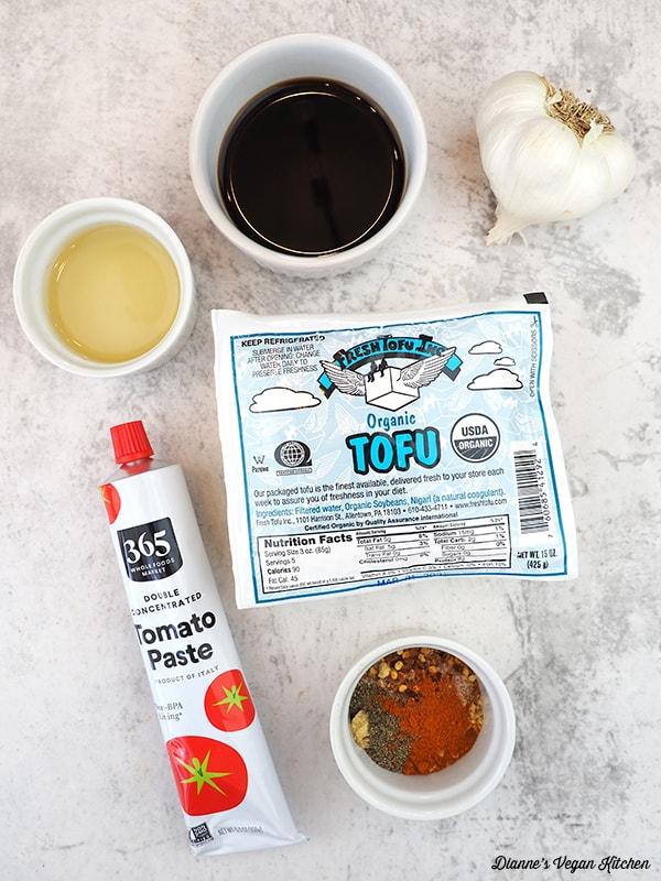 tomato paste, tofu, spices, vinegar, tamari