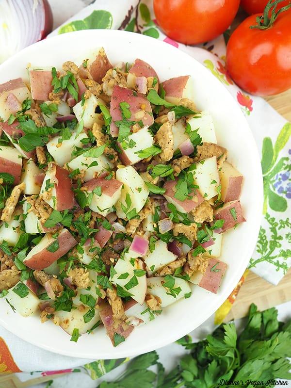 close up of potato salad