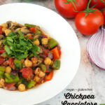 bowl of Vegan Chickpea Cacciatore with text overlay