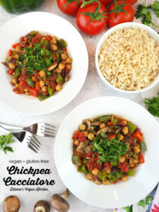 two bowls of Vegan Chickpea Cacciatore with text overlay