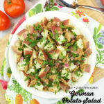 bowl of vegan german potato salad with text overlay