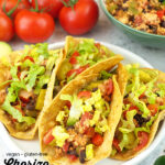 close up of tacos with text overlay