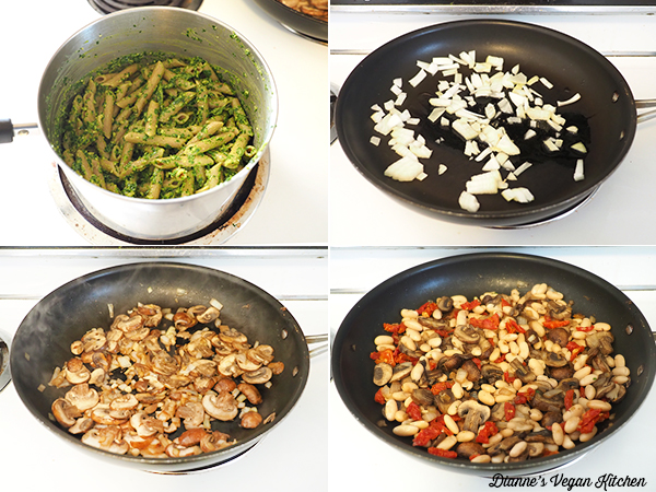 cooking pasta and vegetables