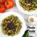 Vegan Pesto Pasta overhead with text overlay