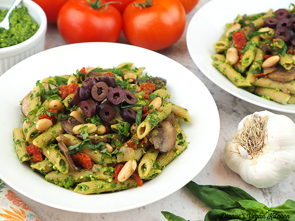 two bowls Vegan Pesto Pasta horizontal