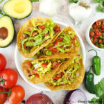 vegan chorizo tacos with toppings square