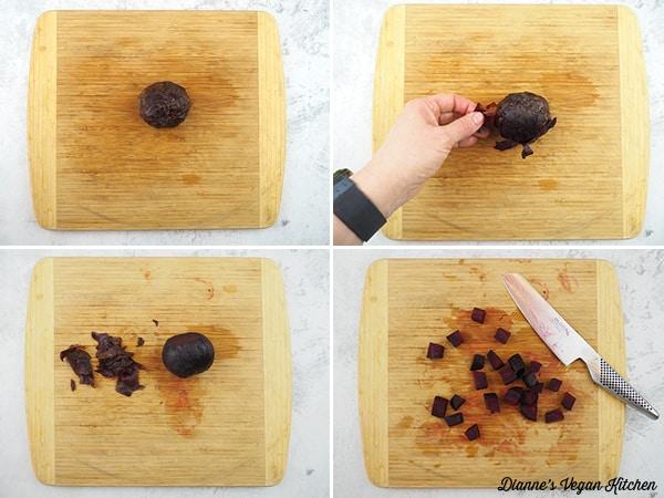 cutting a beet