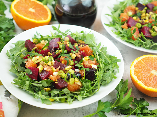 salad horizontal with oranges and dressing