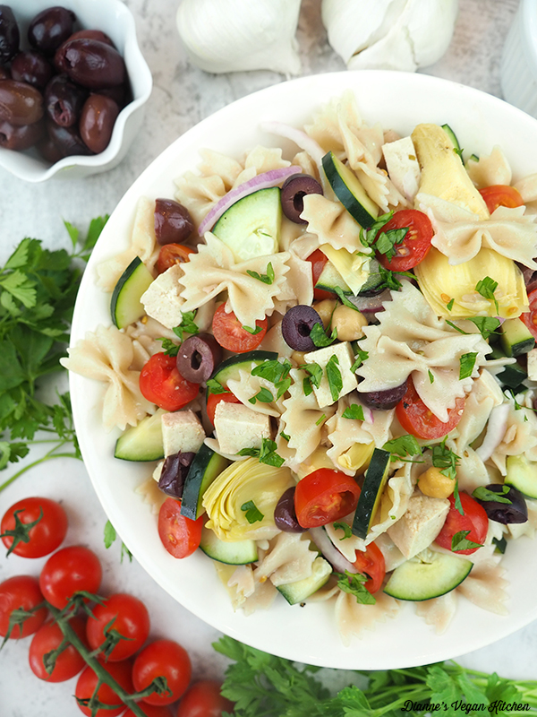 Vegan Greek Pasta Salad with olives and tomatoes