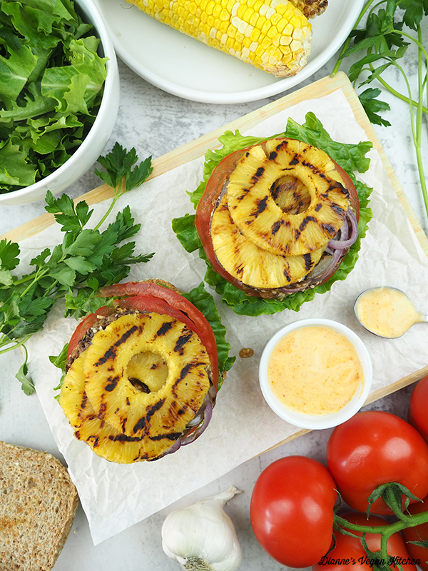 burgers from above with grilled pineapple