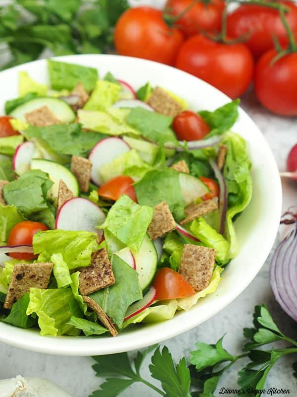 close up of Fattoush Salad