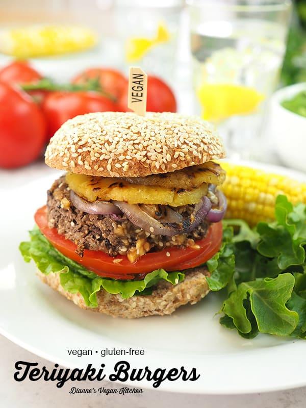 Teriyaki burger on plate with text overlay