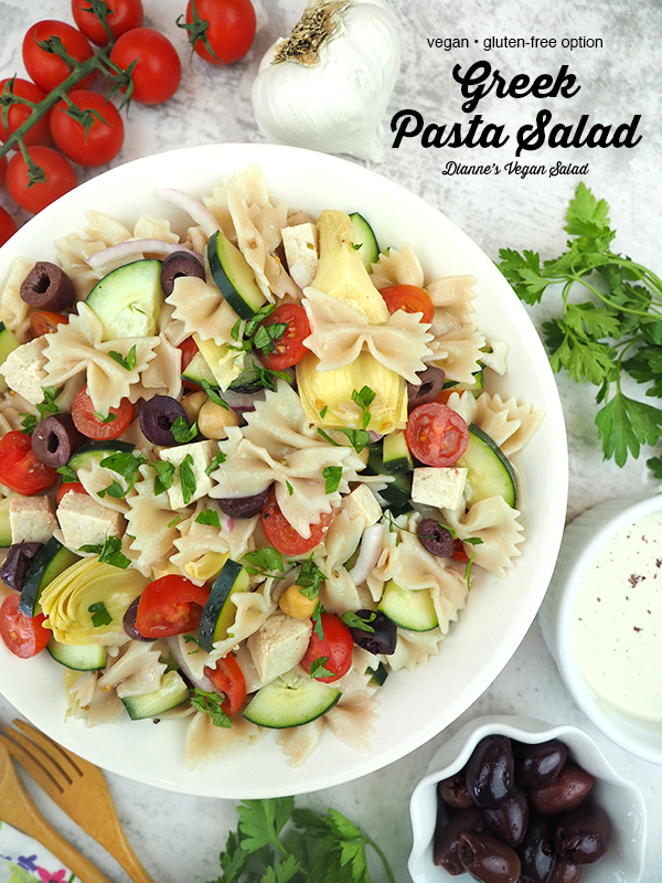 Vegan Greek Pasta Salad with text overlay