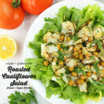 Close up of Roasted Cauliflower Salad with text overlay