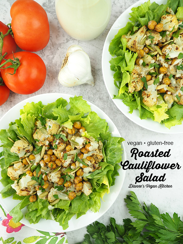 two bowls of Roasted Cauliflower Salad overhead with text overlay