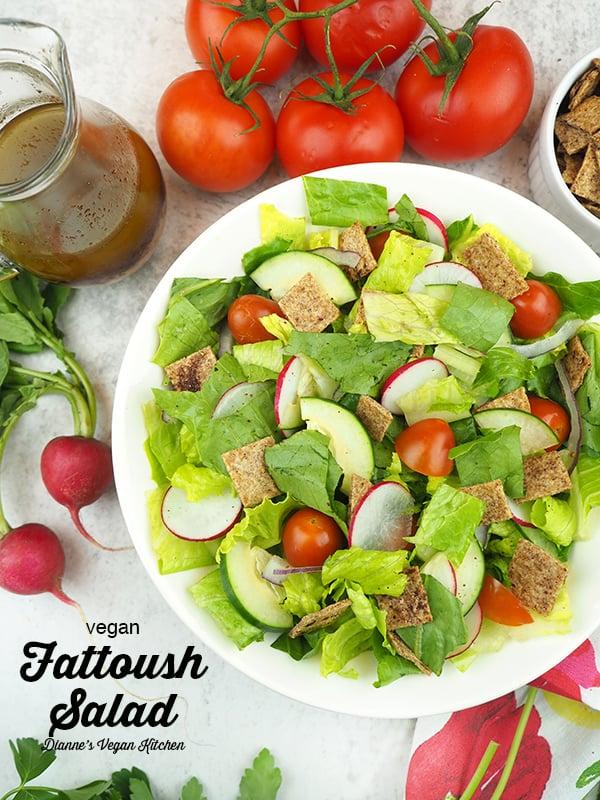Fattoush Salad overhead with text overlay