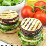 Grilled Eggplant Sandwich with text overlay