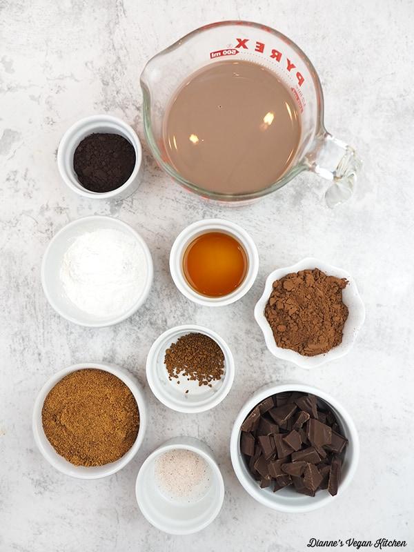 chocolate milk, chopped chocolate, cocoa powder, sugar, cornstarch, vanilla, and salt