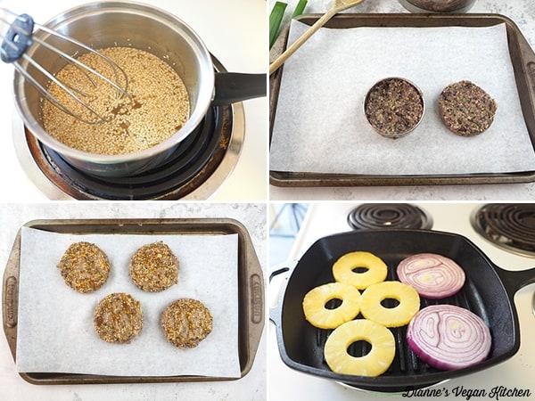 making burgers collage