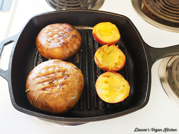grilling mushrooms and peaches
